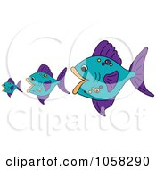 Royalty Free Vector Clip Art Illustration Of Three Purple And Blue Fish The Bigger Ones Eating The Smaller Ones