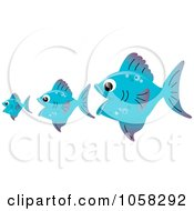 Royalty Free Vector Clip Art Illustration Of Three Blue Fish The Bigger Ones Eating The Smaller Ones