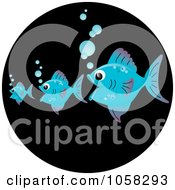Royalty Free Vector Clip Art Illustration Of Three Blue Fish The Bigger Ones Eating The Smaller Ones On A Black Circle
