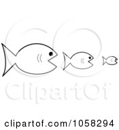 Royalty Free Vector Clip Art Illustration Of Three Outlined Fish The Bigger Ones Eating The Smaller Ones