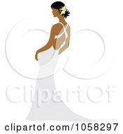 Royalty Free Vector Clip Art Illustration Of A Hispanic Bride Leaning In Her Gown by Pams Clipart