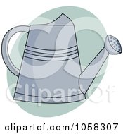 Royalty Free Vector Clip Art Illustration Of A Metal Watering Can Over A Green Oval