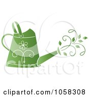 Royalty Free Vector Clip Art Illustration Of A Green Floral Watering Can With Vines by Pams Clipart