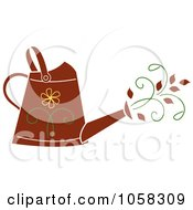 Royalty Free Vector Clip Art Illustration Of A Brown Floral Watering Can With Vines