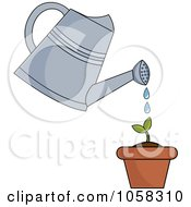 Royalty Free Vector Clip Art Illustration Of A Watering Can Over A Seedling Plant