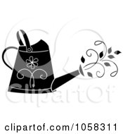 Royalty Free Vector Clip Art Illustration Of A Black And White Floral Watering Can With Vines