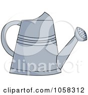 Royalty Free Vector Clip Art Illustration Of A Metal Watering Can 1 by Pams Clipart