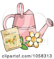 Royalty Free Vector Clip Art Illustration Of A Pink Watering Can With A Packet Of Daisy Seeds