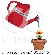 Royalty Free Vector Clip Art Illustration Of A Watering Can Over A Flowering Plant