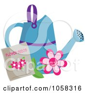 Royalty Free Vector Clip Art Illustration Of A Blue Watering Can With A Packet Of Daisy Seeds