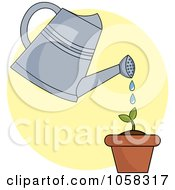 Royalty Free Vector Clip Art Illustration Of A Watering Can Over A Seedling Plant On A Yellow Circle