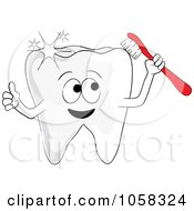 Royalty Free Vector Clip Art Illustration Of A Sparkling Tooth Character Holding A Brush by Pams Clipart