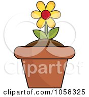 Royalty Free Vector Clip Art Illustration Of A Yellow Potted Daisy Plant 1 by Pams Clipart