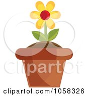 Royalty Free Vector Clip Art Illustration Of A Yellow Potted Daisy Plant 2