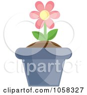 Royalty Free Vector Clip Art Illustration Of A Pink Potted Daisy Plant 2