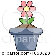 Royalty Free Vector Clip Art Illustration Of A Pink Potted Daisy Plant 1