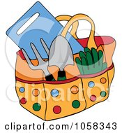 Royalty Free Vector Clip Art Illustration Of A Garden Tote Bag With Tools