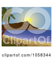 Royalty Free Vector Clip Art Illustration Of A Scenic Beach View Of Diamond Head Hawaii