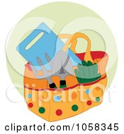 Royalty Free Vector Clip Art Illustration Of A Garden Tote Bag With Tools Over A Green Circle