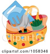 Royalty Free Vector Clip Art Illustration Of A Gardening Tote Bag With Tools