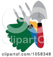 Royalty Free Vector Clip Art Illustration Of A Pair Of Garden Gloves With Tools