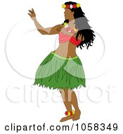 Royalty Free Vector Clip Art Illustration Of A Hawaiian Hula Dancer 1 by Pams Clipart