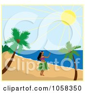 Royalty Free Vector Clip Art Illustration Of A Hawaiian Hula Dancer On A Beach by Pams Clipart