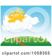 Royalty Free Vector Clip Art Illustration Of A Sun In Puffy Clouds Over A Trail On A Hill