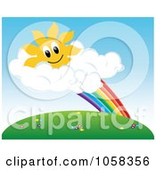 Royalty Free Vector Clip Art Illustration Of A Sun Character In Clouds At The End Of A Rainbow Above A Meadow