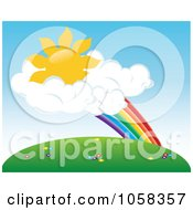 Royalty Free Vector Clip Art Illustration Of A Sun In Clouds At The End Of A Rainbow Above A Meadow