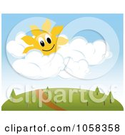 Royalty Free Vector Clip Art Illustration Of A Sun Character In Puffy Clouds Over A Trail On A Hill