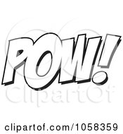 Royalty Free Vector Clip Art Illustration Of A Cartoon Black And White Outline Design Of POW