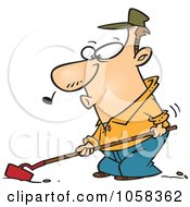 Royalty Free Vector Clip Art Illustration Of A Cartoon Whistling Farmer Cultivating