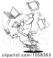 Cartoon Black And White Outline Design Of A Businessman Juggling Tasks On A Unicycle