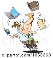 Royalty Free Vector Clip Art Illustration Of A Cartoon Businessman Juggling Tasks On A Unicycle by toonaday #COLLC1058368-0008