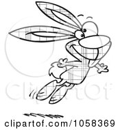 Royalty Free Vector Clip Art Illustration Of A Cartoon Black And White Outline Design Of A Jumping Plaid Easter Bunny 1