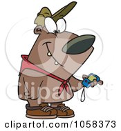 Royalty Free Vector Clip Art Illustration Of A Cartoon Hiking Bear Using A GPS Tool