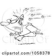 Royalty Free Vector Clip Art Illustration Of A Cartoon Black And White Outline Design Of A Golfer Running Away From Balls