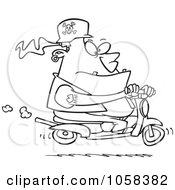 Royalty Free Vector Clip Art Illustration Of A Cartoon Black And White Outline Design Of A Biker Dude On A Scooter by toonaday
