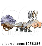 Cartoon Of Two Mules Pulling A Wagon Full Of Rocks