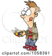 Royalty Free Vector Clip Art Illustration Of A Cartoon Boy Working On A Rubiks Cube