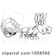 Cartoon Black And White Outline Design Of Two Mules Pulling A Wagon Full Of Rocks