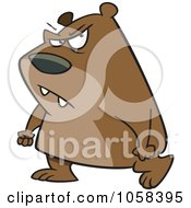 Royalty Free Vector Clip Art Illustration Of A Cartoon Surly Bear Walking With Clenched Fists by toonaday