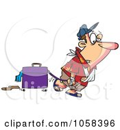Royalty Free Vector Clip Art Illustration Of A Cartoon Exhausted Man After Vacation by toonaday