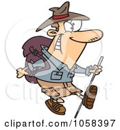 Royalty Free Vector Clip Art Illustration Of A Cartoon Trekking Male Aussie