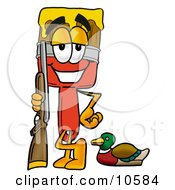 Clipart Picture Of A Paint Brush Mascot Cartoon Character Duck Hunting Standing With A Rifle And Duck by Toons4Biz