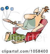 Royalty Free Vector Clip Art Illustration Of A Cartoon Lazy Man Playing Paddle Ball by toonaday