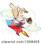 Royalty Free Vector Clip Art Illustration Of A Cartoon Businessman Launching On A Rocket