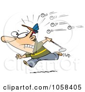 Royalty Free Vector Clip Art Illustration Of A Cartoon Golfer Running Away From Balls by toonaday