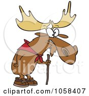 Royalty Free Vector Clip Art Illustration Of A Cartoon Hiking Moose Using A Walking Stick by Ron Leishman
